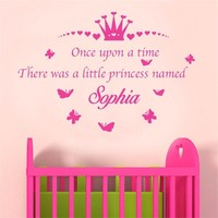 T040032 Personaizlied Name Crown Quotes Princess Room Decor Sticker Vinyl Decals Art Wall Stickers for Girls Nursery Room
