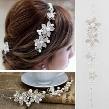 Hot Brilliant quality Crystal Rhinestone Faux Pearl Flower Party Bridal Headband Headwear Hair Band for Sweet Lady 5D5E