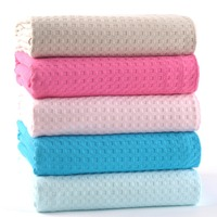 2015 New Waffle Weave Style Summer Spring Autumn Soft 100 Cotton Blankets Solid Towel Blanket On