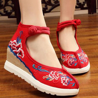 Women S Spring Autumn Floral Embroidery Canvas Height Increase Wedges Casual Shoe Vintage Cotton Fabric Ankle