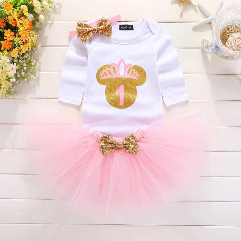 3ba8c8a46 Nueva ropa de bebé niña manga larga arco tutú 1 año vestido (Tops + diadema