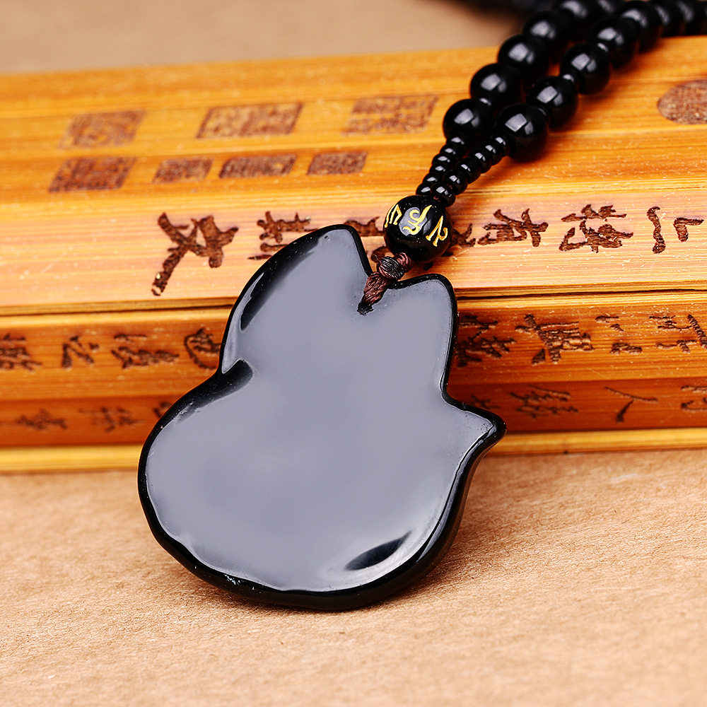 4*4 centimetri RongDe naturale volpe nera ossidiana intagliato buddha amuleto pendent fortunato ossidiana collana di alta qualità per gli uomini paio pendente
