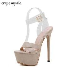 все цены на Women High Heels Sandals 16cm Sexy Stripper Shoes Party Pumps Shoes Women Gladiator Platform nude pumps wedding Sandals YMA874 онлайн