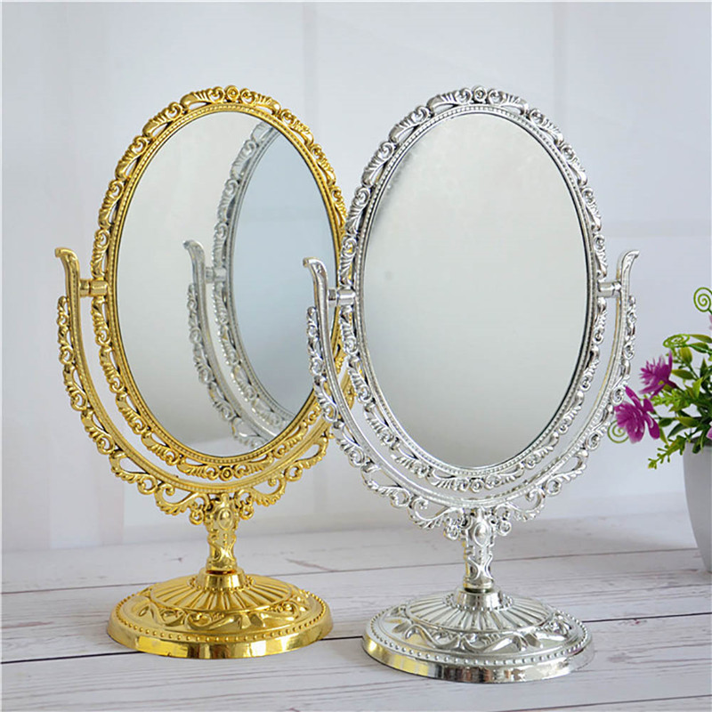 2 Color European Style Desktop Two Sided Oval Archaistic Swivel Makeup Cosmetic Mirror