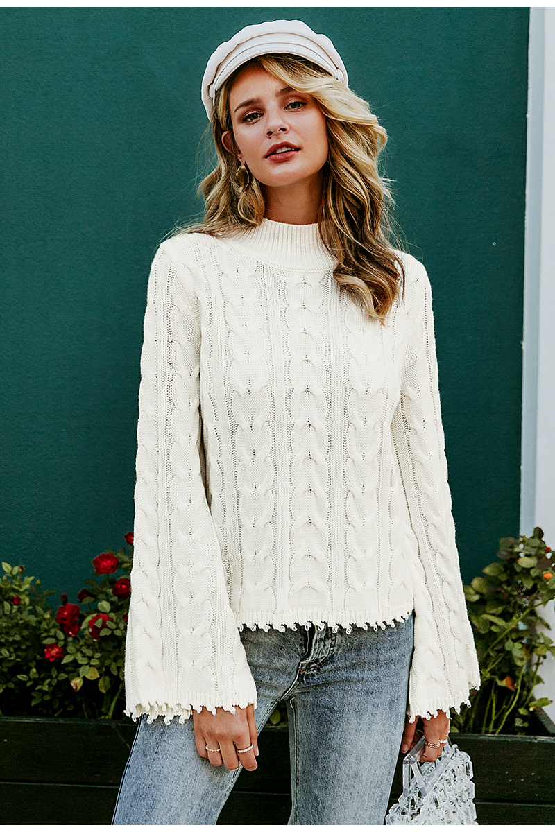Simplee White knitted sweater women Turtle neck flare sleeve tassel ladies pullover jumper Autumn winter solid sweater female