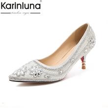 Karinluna 2018 Women's Fasthion Rhinestone Flower Party Wedding Shoes Woman High Heels Less Platform Pumps Big Size 30-47