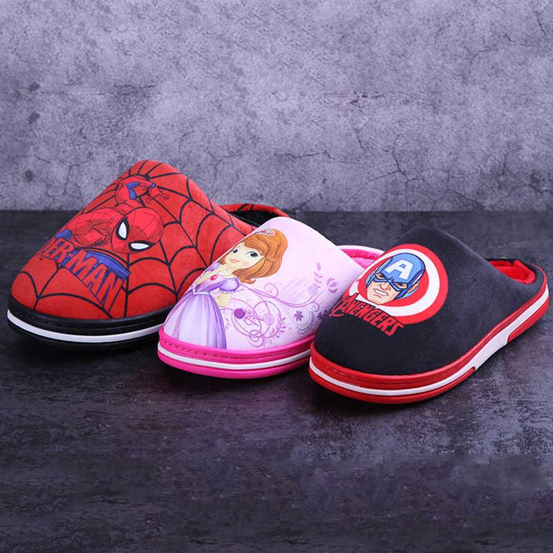 דיסני Shippingwedges לילדים חורף ילדים של בני בנות החלקה חם רך תינוק ספיידרמן קריקטורה כותנה נעל