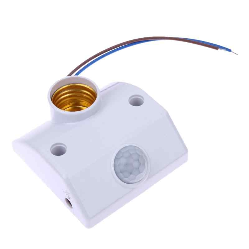 E27 AC 220v 50/60HZ 5LUX Motion Sensing Switch Infrared Motion Sensor Automatic Light Lamp Holder Switch White
