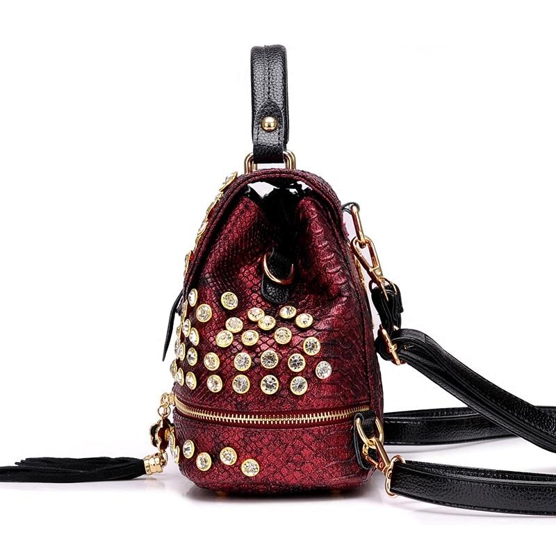 2019 New Fashion Women Alligator Diamond Backpack Shoulder Bag Fashion PU Female Backpack Girl School Bag S106 4