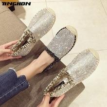 TINGHON Luxury rhinestone Fashion Ethnic Casual Espadrilles Flat New Women Spring Slip on Fishermen Hemp Rope Shoe