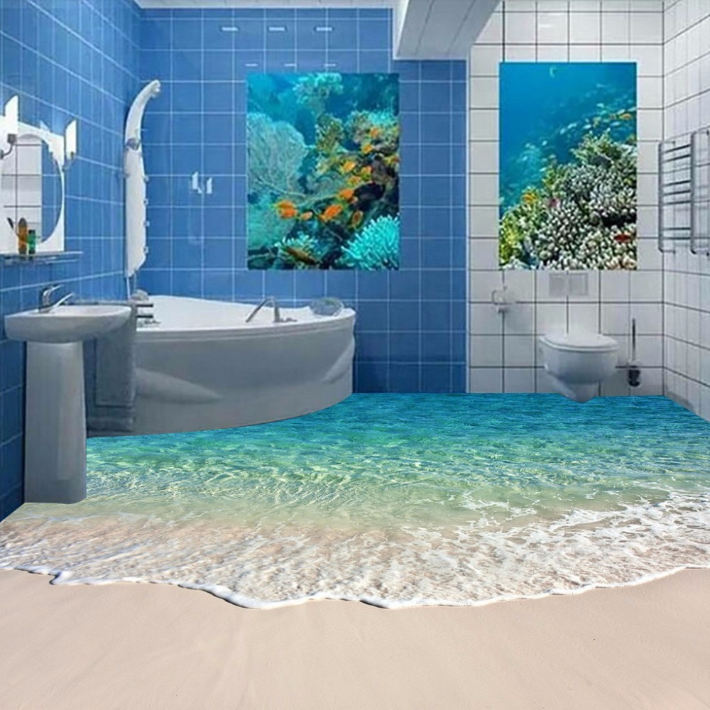 Free Shipping 3D surf sea water beach shell sea star living room bathroom office decoration floor wallpaper mural 3d rock sea floor sticker