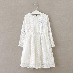 Image 5 - Vestido de manga larga de encaje para niña vestido para niña de fiesta de Boda de Princesa para bebé, Blanco/azul oscuro
