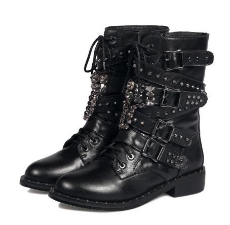 Round toe martin boots Women black low heel ankle boots Buckle decorated zipper short boots Ladies'spring and autumn short boots все цены