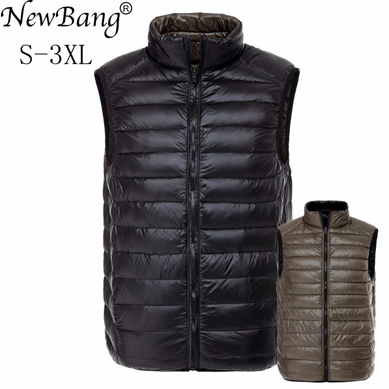 NewBang Brand Men's Vest Ultra Light Down Men Double Side Sleeveless Jacket Male Warm Windproof Vests Reversible Waistcoat