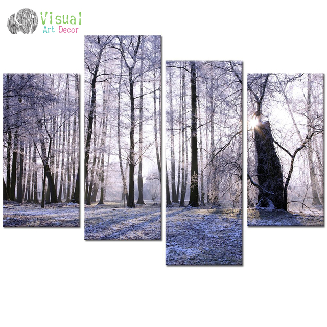 Well-known Winter Forest Canvas Wall Art,Sunshine Forest Tree Canvas Prints  BH22