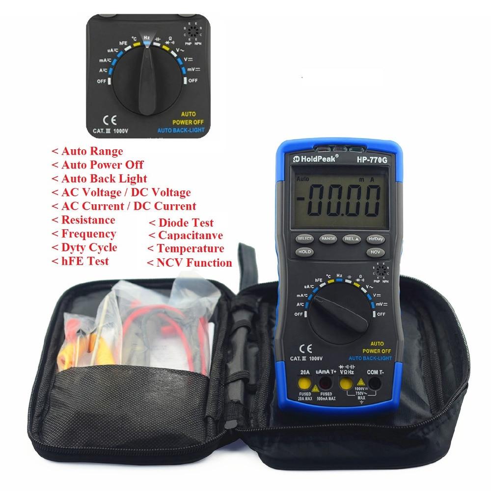 Multimetro HoldPeak HP-770G Auto Range Digital Multimeter DMM DC AC Voltage Current Temperature Meter Tester Diode mini multimeter holdpeak hp 36c ad dc manual range digital multimeter meter portable digital multimeter