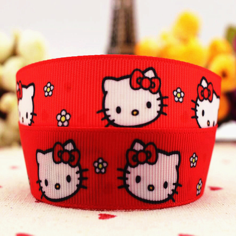 Red Hello Kitty Cartoon Grosgrain Ribbons Children Hair Accessories Diy Gift Bags Holiday 10 Yards Beautiful And Charming 22 Mm Ambitious Newly Listed 7/8