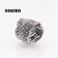 SOQMO Thai silver Men Big Ring 925 Sterling Silver Fine jewelry Punk Eagle Feathers Brand Fashion Adjustable Christmas Gift
