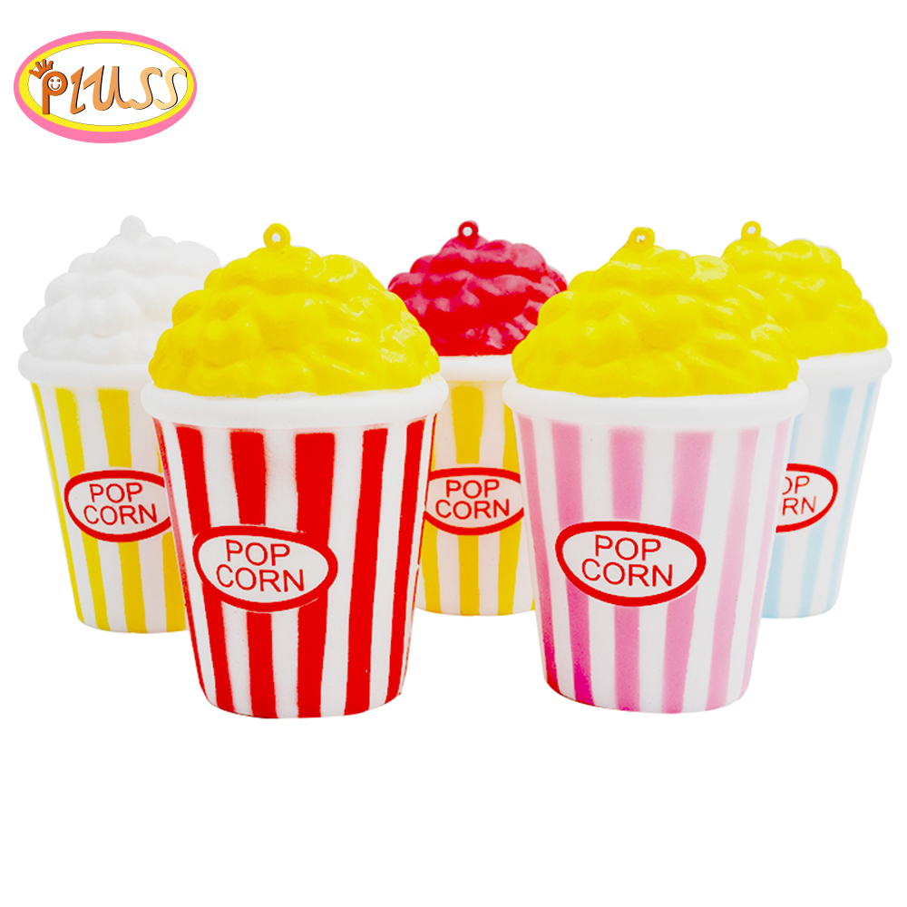 Squsihy PU Popcorn Cup Squishy Slow Rising Decompression Easter Phone Strap Squeeze Toy Gift Toys Stress Relief