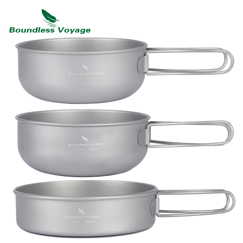Campcookingsupplies Keith 3pcs Titanium Pan Bowel Pot Set Outdoor Camping Picnic Cooking Kitchen Folding Cookware Ti6053