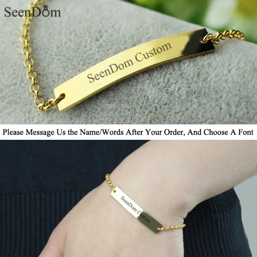 Customize Birthdate Words Stainless Steel Women Bracelet,Gold Plated Custom Personalized Name Engraved Ladies Bracelet