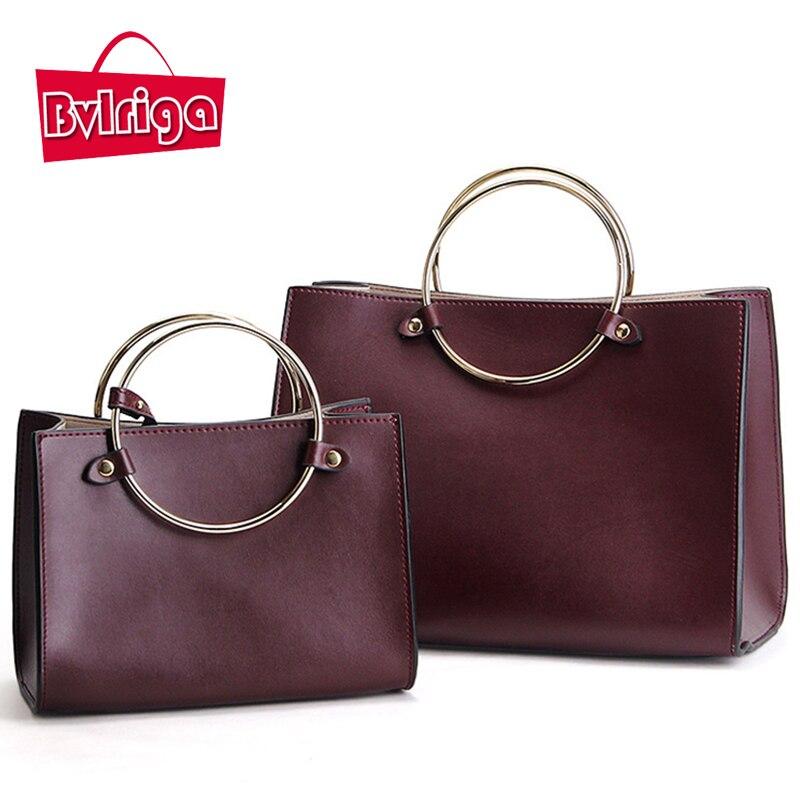 BVLRIGA Genuine leather bag retro ring women leather handbags luxury handbags  women bags designer women messenger 49e478159a01e