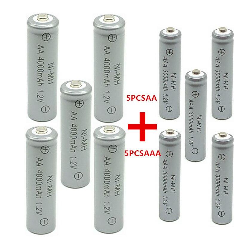 5pcs AA 4000 MAh Ni-MH Rechargeable Batteries + 5 Pcs AAA 3000 MAh Rechargeable Batteries.