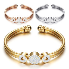 Snake bone chain stainless steel bracelet, zircon geometric opening bangle, female, fashion jewelry accessories wholesale,ZJ1005