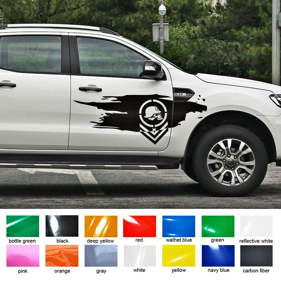 Livraison gratuite 2 PC crâne côté porte graphique vinyle voiture autocollant pour ramassage jeep ou suv