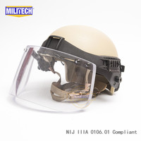 Армейский пуленепробиваемый тактический шлем MILITECH DE High Cut уровень IIIA 3A  армейский пуленепробиваемый тактический козырек  гарантия 5 лет