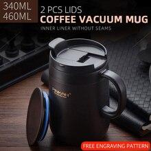 Pinkah 340 & 460 мл 304 термокружки из нержавеющей стали, Офисная чашка с ручкой с крышкой, изолированные чайные термос с крышкой-чашкой, офисные термосы