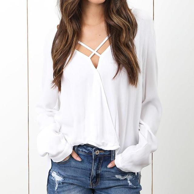 c55f7f9e Women Blouse Shirts Cross Lace Up V Neck Sexy Blouse camis Blusa Elegant  White Shirt WS5427E