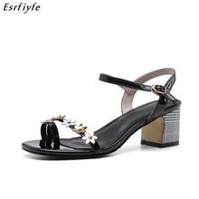 ESRFIYFE New 2019 Woman Sandals Summer Elegant Women Concise Open Toe High Heels Fashion Thick Bottom
