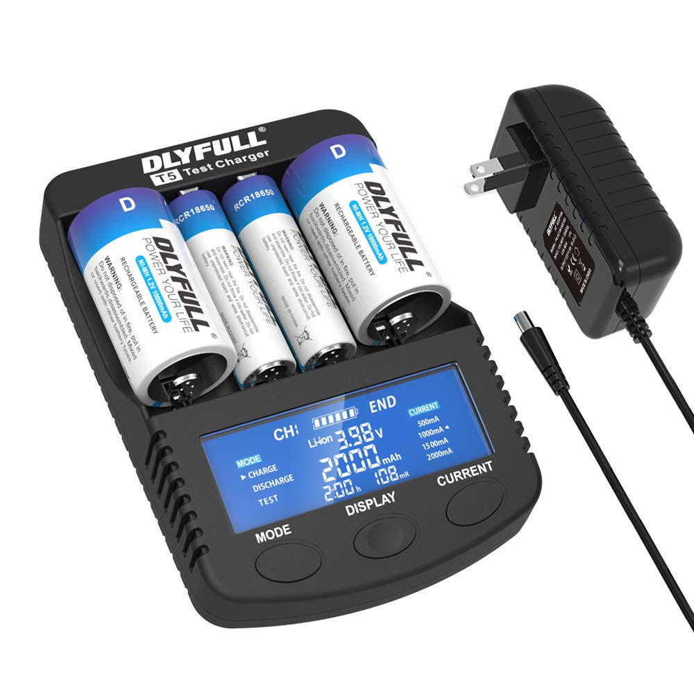 DLYFULL T5 Intelligent Battery Charger for 3.7V Li-ion 18650 RCR123A 32650 21700 and 1.2V Ni-MH AA AAA C D Super Fast Charger