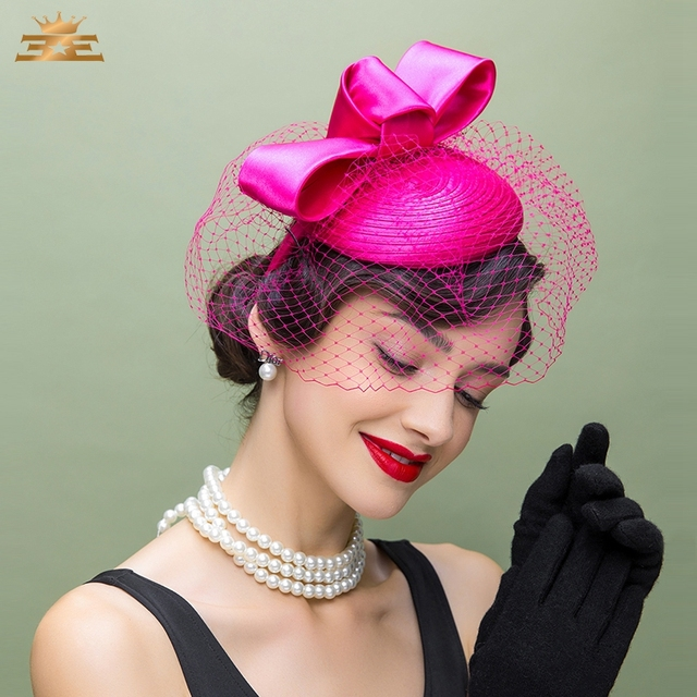 Lady New Fedora Hat Fascinators Women British Cap Wedding Dress Hat Tea  Party Pillbox Hats Female Church Cap B-8159 d9a13efe05c