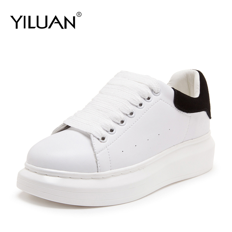 White shoes female 2019 spring new sports shoes Genuine Leather wild thick platform women sneakers shoes ins four seasons shoes-in Women's Flats from Shoes    1