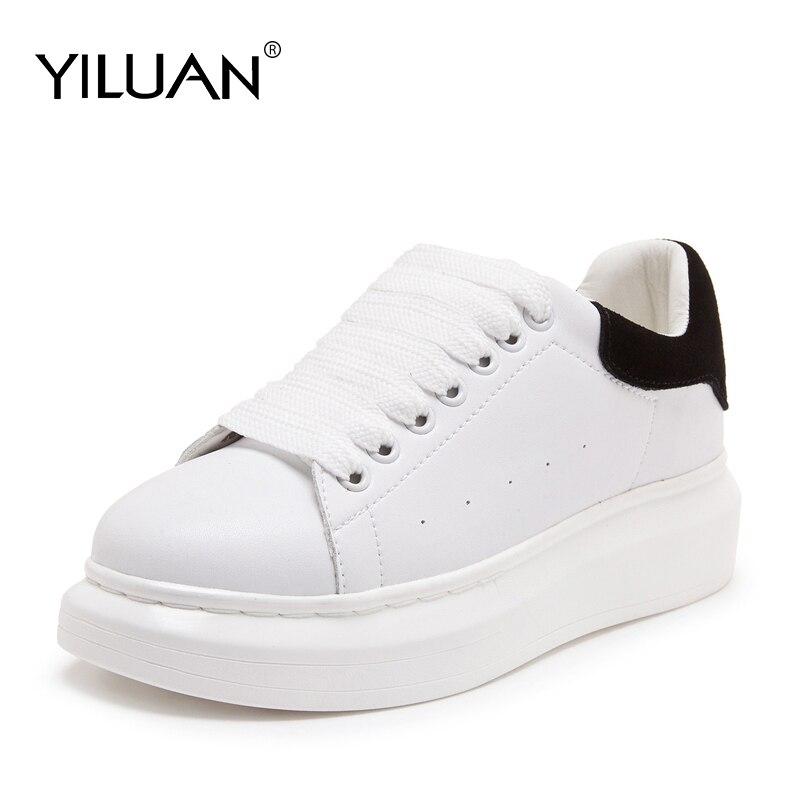 Zapatillas Cuatro Genuino Zapatos Mujer Nuevos Deportivos Salvaje Ins Primavera Cuero Blancos Plataforma Mujeres 2019 Gruesa DHWE2I9