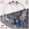 Top Qualidade Famosa Marca de Luxo Azul Série Charme 925 Sterling Silver Charm Bracelet