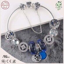 Famosa Marca de Lujo de Calidad superior Azul Series Encanto 925 Sterling Silver Charm Bracelet