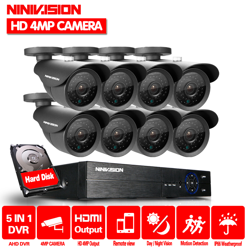NINIVISION Security Camera System 8ch CCTV System 8 x 4.0MP CCTV Camera Surveillance System Kit Camaras Seguridad Home 2TB HDD ...