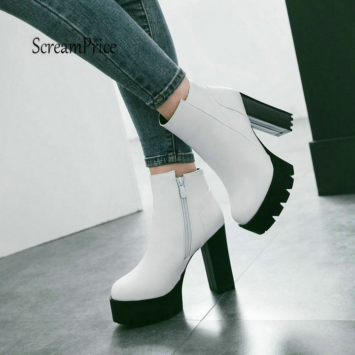 Ladies Winter Fashion Ladies Shoes Thick High Heels Ankle Boots Platform Zip Women Boots White Red Black