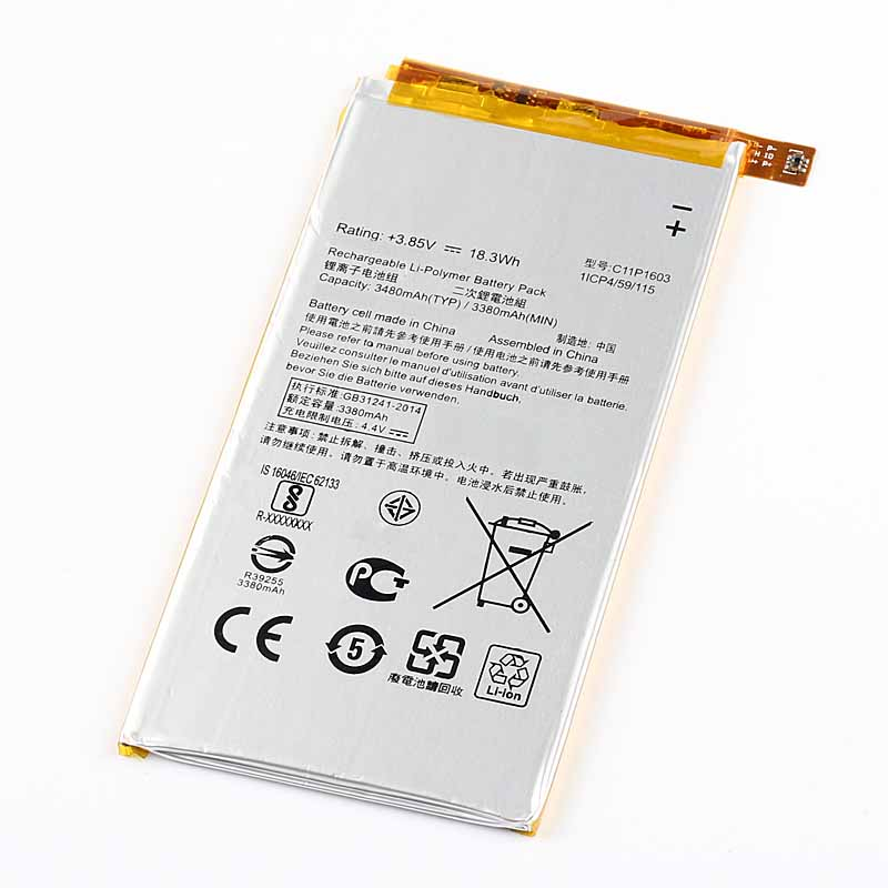 Original High Capacity C11P1603 Battery For ASUS ZS570KL ZenFone3 ZenFone 3 3480mAh in Mobile Phone Batteries from Cellphones Telecommunications
