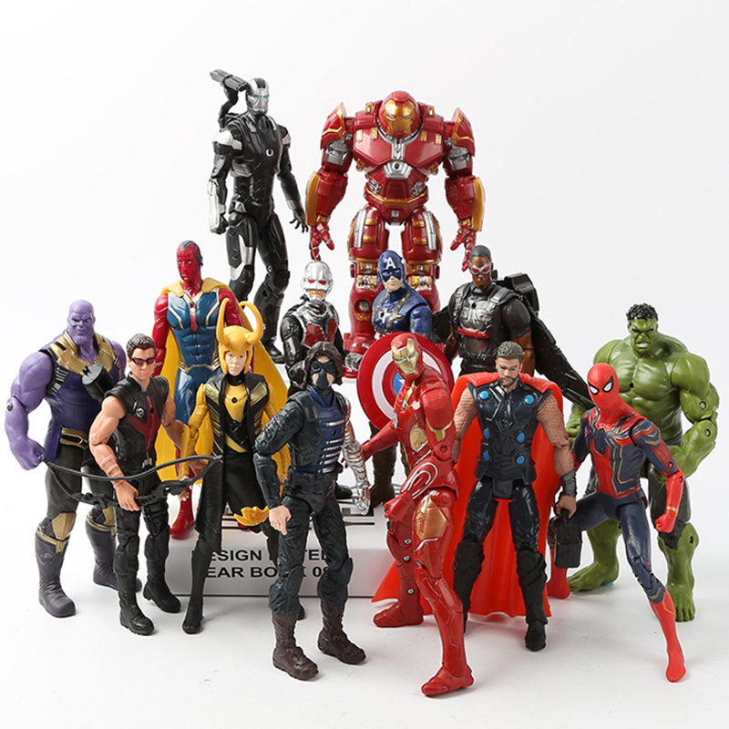 new-font-b-avengers-b-font-infinity-war-marvel-super-hero-figures-iron-man-spider-man-captain-america-hulk-thanos-figure-set-collectible-toy