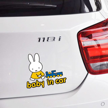 Aliauto Miffy Baby In Car Sticker Funny Decal Cartoon Accessories for Ford Focus 2 3 Opel Renault Volkswagen Polo Golf 5 6 7