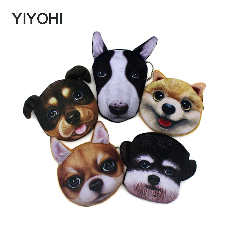 YIYOHI New Cute Style Novelty 3D Animals Cat Dog Zipper Plush Coin Purse Kawaii Children Coin Purse Women Wallet Mini Handbag