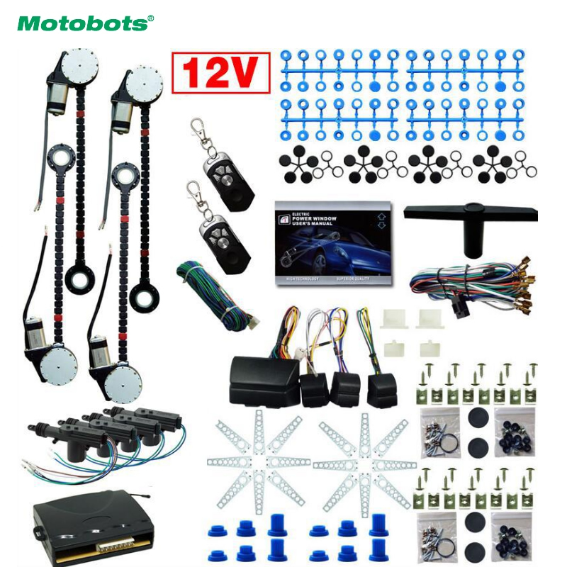 MOTOBOTS DC12V Universal Car/Auto 4 Doors Electronice Power Window kits With 8pcs/Set Swithces and Harness #CA1615 motobots universal 2 doors car auto electric power window kits with 3pcs set switches and harness dc12v ca4100