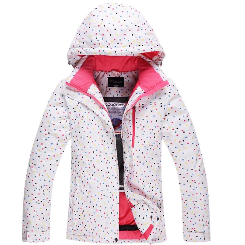 Cheap ski jacket White Dot Womens Snowboard Jacket 10K Waterproof Windproof Winter Warm Girl Snow Suit Outdoor Skiing Clothes boglioli k jacket пиджак