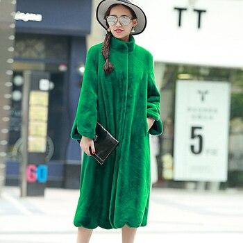Nerazzurri длинное пальто из искусственного меха 2017, женская обувь зимние однотонные цвет с длинным рукавом и стоячим воротником свободные зеле...
