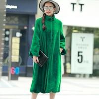 Nerazzurri Long Faux Fur Coat Women 2017 Winter Solid Color Long Sleeve Stand Collar Loose Green Outerwear Plus Size 5XL 6XL 7XL