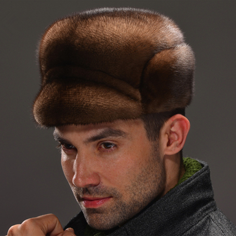 HM035  Real genuine mink  hat  winter Russian men's warm caps whole piece mink  fur hats